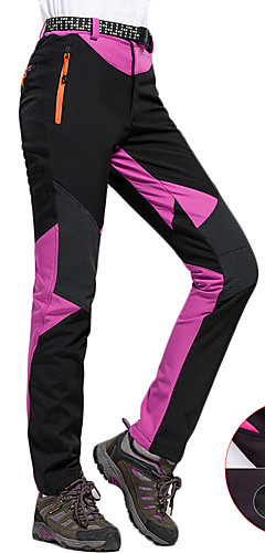 cheap -Women's Hiking Pants Softshell Pants Outdoor Thermal / Warm Windproof Breathable Rain Waterproof Winter Fleece Softshell Pants / Trousers Bottoms Running Camping / Hiking Exercise & Fitness Light