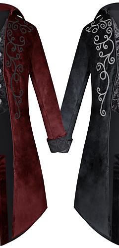 povoljno -Liječnik plague Viktoriánus Steampunk Zima Kaput Mantil Muškarci Kostim Crn / Red Vintage Cosplay Party Halloween Dugih rukava