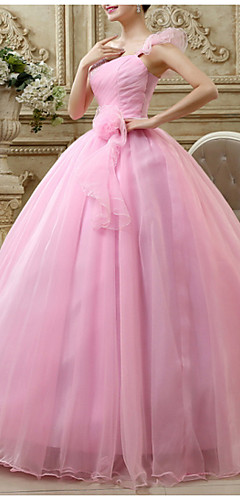 cheap -Ball Gown Luxurious Engagement Prom Dress One Shoulder Sleeveless Floor Length Polyester with Draping 2020