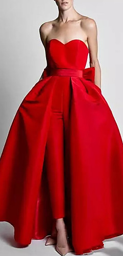 levne -Dvoudílné Overal Elegantní Svatební host Formální večer Šaty Srdcový výstřih Bez rukávů Na zem Polyester s Mašle Overskirt 2020