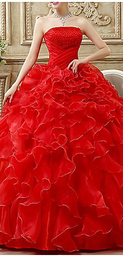 levne -Plesové šaty Luxusní Maturitní ples Formální večer Šaty Bez ramínek Bez rukávů Na zem Šifón Polyester s Korálky Vrstvy 2020