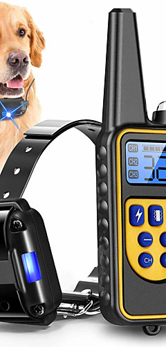 cheap -Dog Collar Training Anti Bark Electric LCD Display Remote Control Shock / Vibration Classic Metalic Plastic Black