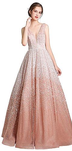 cheap -Ball Gown Beautiful Back Sexy Quinceanera Formal Evening Dress V Neck Sleeveless Floor Length PU with Sleek 2020