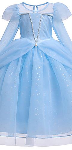 povoljno -Princeza Cinderella Haljine Cvjetna djevojka haljina Djevojčice Filmski Cosplay Line-Slip S perlama Pink / Plava Haljina Halloween Karneval Maškare Til Pamuk