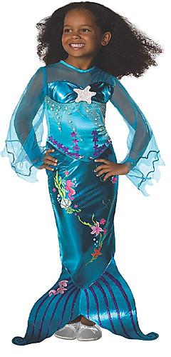povoljno -Rep Sirene Aqua Princess Haljine Cvjetna djevojka haljina Dječji Djevojčice Line-Slip Božić Halloween Karneval Festival / Praznik Elastan Tactel Ocean Blue Karneval kostime Vintage / Haljina