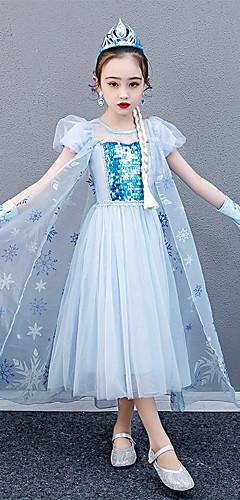 povoljno -Princeza Elsa Haljine Cvjetna djevojka haljina Djevojčice Filmski Cosplay Line-Slip Plava Haljina Dječji dan Maškare Til Pamuk