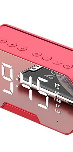 cheap -Mirror Surface Display Smart Alarm Clock Bluetooth Speaker with Vibratory Film Loudspeaker Portable Mini mp3 audio player Support AUX TF for Cellphone Computer
