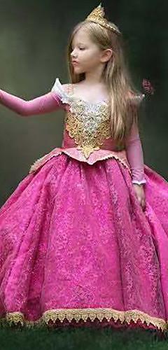 povoljno -Princeza Uspavana ljepotica Aurora Haljine Cosplay Nošnje Djevojčice Filmski Cosplay Line-Slip Halloween Fuschia Haljina Halloween Karneval Maškare Čipka Poliester