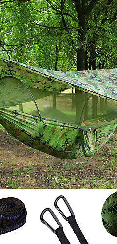 cheap -Double Hammock Camping Hammock with Pop Up Mosquito Net Hammock Rain Fly Outdoor Waterproof Sunscreen Anti-Mosquito Heavy Duty Parachute Nylon with Carabiners and Tree Straps for 2 person Camping