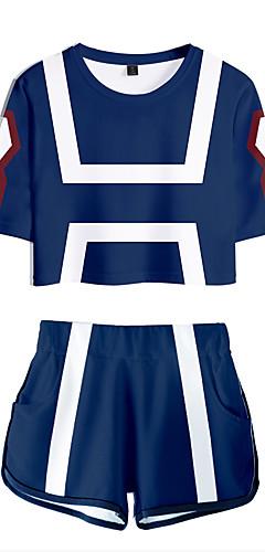 cheap -Inspired by Cosplay My Hero Academia Bakugou Katsuki Pants Cosplay Costume Pure Cotton Print 2-Piece Shorts For Women's / T-shirt
