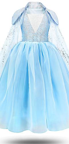 povoljno -Princeza Elsa Haljine Cvjetna djevojka haljina Djevojčice Filmski Cosplay Line-Slip Plava Haljina Dječji dan Maškare Til Poliester