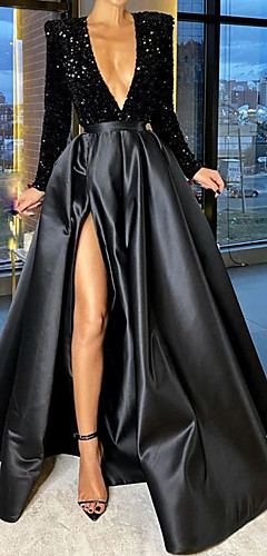 cheap -A-Line Sparkle Party Wear Formal Evening Dress V Neck Long Sleeve Floor Length Satin with Crystals Split 2020