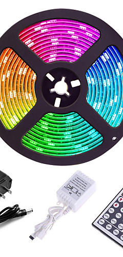 cheap -ZDM 5M 300 x 2835 8mm Lights LED Strip Lights RGB Tiktok Lights Flexible and IR 44Key Remote Control Linkable Self-adhesive Color-Changing