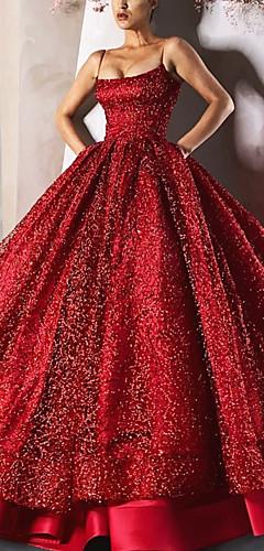 olcso -Báli ruha Pazar Szikra Eljegyzés Hivatalos estély Ruha Spagettipánt Ujjatlan Földig érő Szatén val vel Flitter Szintek 2020