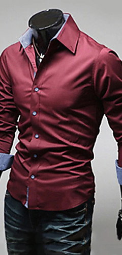 abordables -Homme Grandes Tailles Couleur Pleine Basique Mince Chemise Business Quotidien Travail Col Italien Vin / Blanche / Noir / Bleu clair / Printemps / Automne / Manches Longues