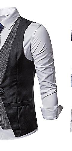 povoljno -Gospodin Kingsman Vintage Povorka maski Mellény Prsluk Muškarci Kostim Crn / Navy Plava / Sive boje Vintage Cosplay Zabave Bez rukávů