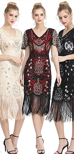 povoljno -The Great Gatsby Vintage 1920s Haljina s flapperom Žene Šljokice Rese Kostim Crna + Zlatna / Crna + Sliver / Red+Golden Vintage Cosplay Party Maturalna zabava Prom