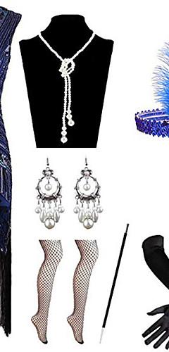 povoljno -Čarlston Vintage 1920s Gatsby Haljina s flapperom Setovi dodataka za kostime Žene Kostim Crveno / crno / Zlatni + crna / Obala Vintage Cosplay / Rukavice / Šeširi / 1 Ogrlica / Naušnice