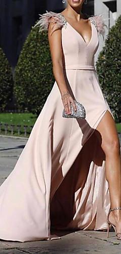 levne -A-Linie Krásná záda Sexy Dovolená Formální večer Šaty Do V Bez rukávů Dlouhá vlečka Šifón s Rozparek 2020