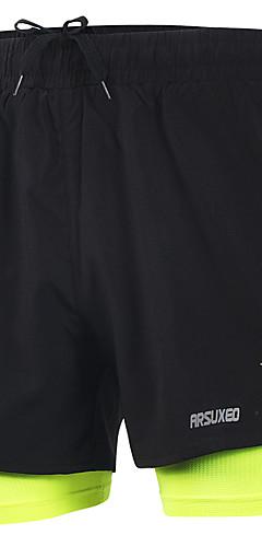 رخيصةأون -Arsuxeo رجالي شورت للجري رياضي قيعان 2 في 1 مع لاينر منفصل سباندكس تمرين نادي رياضي ماراثون كرة السلة كرة القدم ركض التدريب النشط خفة الوزن سريع جاف شرائط عاكسة قياس كبير رياضة / قابل للبسط / فلوري