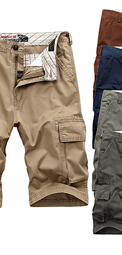 "cheap -Men's Hiking Shorts Hiking Cargo Shorts Summer Outdoor 10"" Relaxed Fit Breathable Soft Comfortable Wear Resistance Cotton Shorts Bottoms Red Hunter Green Blue Khaki Light Green Camping / Hiking"