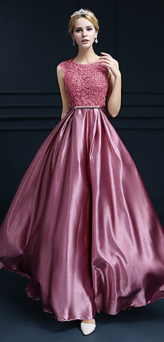 cheap -A-Line Beautiful Back Cute Formal Evening Dress Jewel Neck Sleeveless Floor Length Lace Satin with Crystals 2020