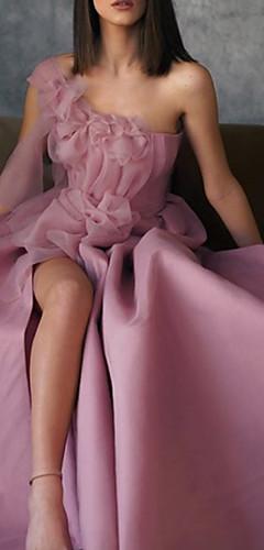 levne -A-Linie Květinový Růžová Maturitní ples Formální večer Šaty Jedno rameno Bez rukávů Na zem Elastický satén s Aplikace Rozparek vpředu 2020