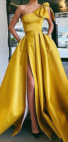 levne -A-Linie Vintage Sexy Party Wear Formální večer Šaty Jedno rameno Bez rukávů Dlouhá vlečka Satén s Mašle Sklady Rozparek 2020