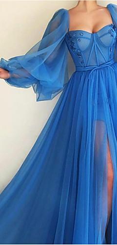 levne -A-Linie Elegantní Luxusní Zásnuby Formální večer Šaty Scoop Neck Dlouhý rukáv Dlouhá vlečka Tyl s Sklady Rozparek 2020