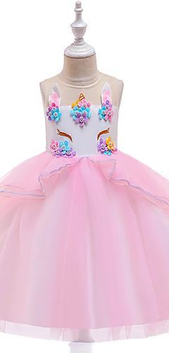 povoljno -Princeza Unicorn Vintage Haljina s flapperom Haljine Kostim za party Djevojčice Kostim purpurna boja / Bijela / Plava Vintage Cosplay Bez rukávů