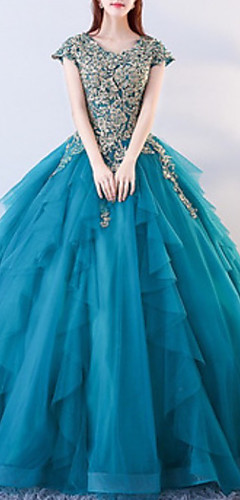 cheap -Ball Gown Elegant Luxurious Quinceanera Formal Evening Dress Jewel Neck Short Sleeve Floor Length Tulle with Beading Appliques 2020