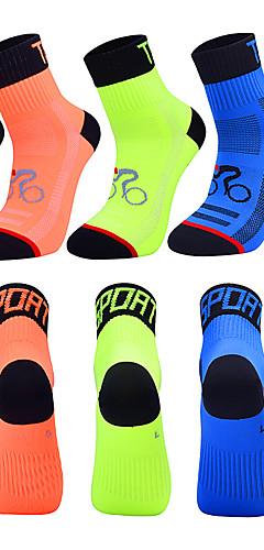 رخيصةأون -رجالي نسائي جوارب رياضية جوارب طاقم جوارب ركوب الدراجة الشتاء سباندكس أبيض أسود أزرق دراجة هوائية متنفس سريع جاف تصميم تشريحي رياضات لون الصلبة ملابس / قابل للبسط