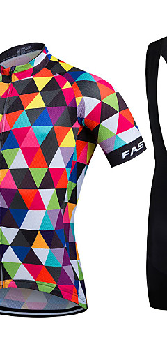 cheap -Fastcute Men's Short Sleeve Cycling Jersey with Bib Shorts Coolmax® Lycra Rainbow Geometic Bike Jersey Bib Tights Clothing Suit Breathable Quick Dry Sports Geometic Road Bike Cycling Clothing Apparel