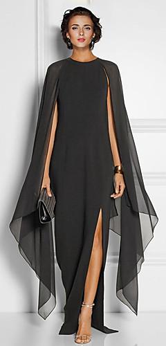 levne -Pouzdrové Elegantní Černá Svatební host Formální večer Šaty Klenot Bez rukávů Na zem Šifón s Nabírání Rozparek vpředu 2020