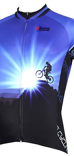 رخيصةأون -21Grams رجالي كم قصير جورسيه الدراجة بوليستر أرجواني أصفر أحمر الدراجة جورسيه قمم دراجة جبلية دراجة الطريق متنفس سريع جاف الأشعة فوق البنفسجية مقاوم رياضات ملابس / قابل للبسط / شرائط عاكسة