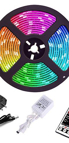 Недорогие -5 метров Наборы ламп светодиоды 3528 SMD 8mm RGB Пульт управления Можно резать Диммируемая 12 V / Компонуемый / Самоклеющиеся / Меняет цвета / IP44