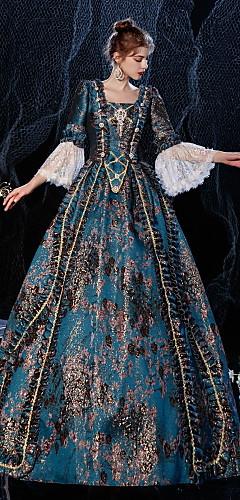 povoljno -Princeza Shakespeare Rococo Gotika Vintage inspirirano Srednjovjekovni Haljine Kostim za party Povorka maski Žene Kostim Kao slici Vintage Cosplay Party Maškare Svadba 3/4-Length rukav Krinolina