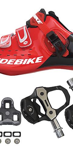رخيصةأون -SIDEBIKE أحذية لركوب الدرجات مزودة ببدال وماسك Road Bike Shoes نايلون ألياف الكربون متنفس توسيد خفيف جدا (UL) ركوب الدراجة أحمر وأسود رجالي أحذية الدراجة / سريع جاف