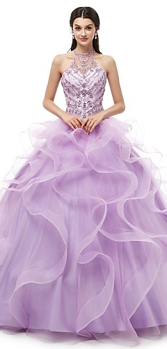 cheap -Ball Gown Elegant Luxurious Quinceanera Formal Evening Dress Halter Neck Sleeveless Floor Length Organza with Crystals 2020