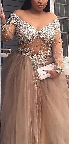 levne -A-Linie Třpytivé Sexy Zásnuby Formální večer Šaty Do V Dlouhý rukáv Na zem Tyl s Flitry 2020