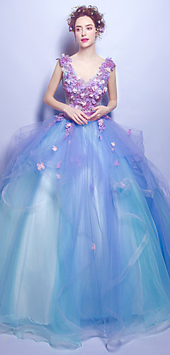 cheap -Ball Gown Elegant Floral Quinceanera Engagement Dress V Neck Sleeveless Floor Length Tulle with Beading Appliques 2020