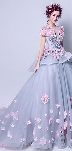 levne -Plesové šaty Elegantní Květinový Zásnuby Formální večer Šaty Klenot Krátký rukáv Velmi dlouhá vlečka Tyl s Výšivka Aplikace 2020