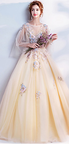 cheap -Ball Gown Elegant Floral Quinceanera Engagement Dress Illusion Neck Long Sleeve Floor Length Organza with Beading Appliques 2020