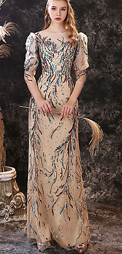 levne -Pouzdrové Barevné bloky Luxusní Maturitní ples Formální večer Šaty Illusion Neckline Poloviční rukáv Na zem Krajka Flitry s Flitry 2020