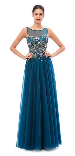 levne -A-Linie Elegantní Sexy Zásnuby Formální večer Šaty Illusion Neckline Bez rukávů Na zem Flitry s Flitry 2020