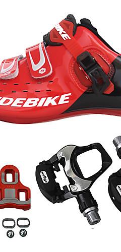 رخيصةأون -SIDEBIKE للبالغين أحذية لركوب الدرجات مزودة ببدال وماسك Road Bike Shoes ألياف الكربون توسيد ركوب الدراجة أحمر رجالي أحذية الدراجة / شبكة قابلة للتنفس