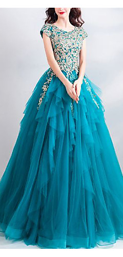 cheap -Ball Gown Elegant Floral Quinceanera Formal Evening Dress Jewel Neck Short Sleeve Floor Length Tulle with Beading Appliques 2020