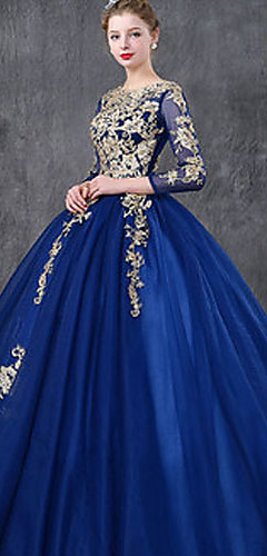cheap -Ball Gown Luxurious Vintage Quinceanera Formal Evening Dress Jewel Neck 3/4 Length Sleeve Floor Length Tulle with Lace Insert Embroidery 2020
