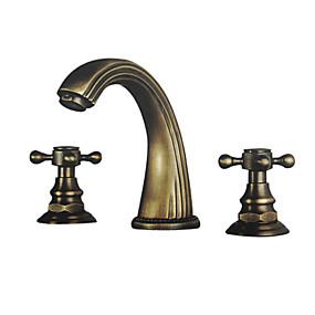 preiswerte Antikmessing Series-Waschbecken Wasserhahn - Verbreitete Antikes Messing 3-Loch-Armatur Zwei Griffe Drei LöcherBath Taps