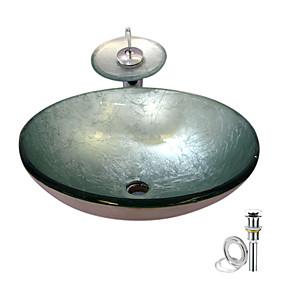 preiswerte Moderne Aufsatzwaschtische-Waschbecken für Badezimmer / Armatur für Badezimmer / Einbauring für Badezimmer Moderne - Hartglas Rundförmig Vessel Sink